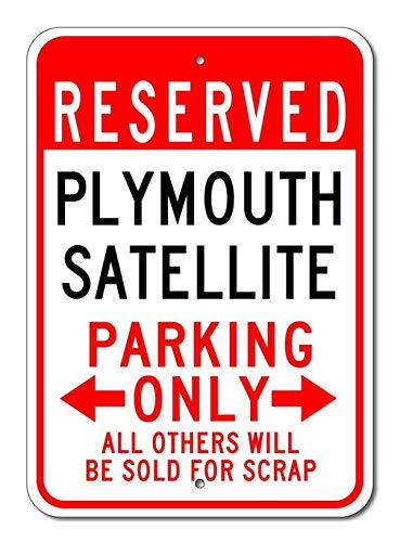 The Lizton Sign Shop Plymouth Satellite Aluminium Parken Schild, Aluminium, Weiß, 2 12