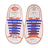 Prettyia Elastische Silikon Schnürsenkel Gummi Schnürbänder Schnellverschluss Ersatz Wasserdicht Schuhband - Blau