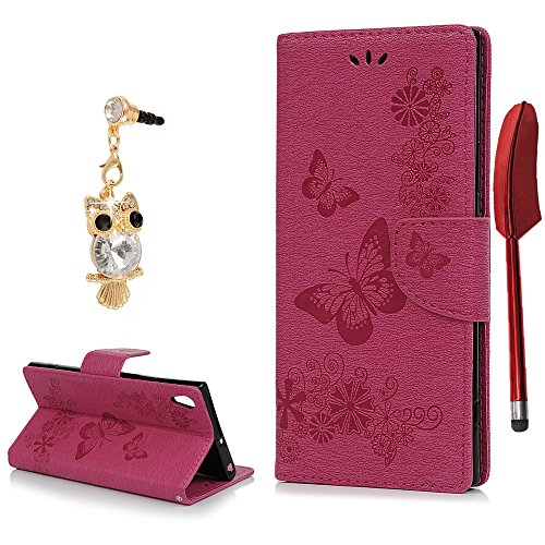 YOKIRIN Sony Xperia XA1 Ultra Flip Hülle Wallet Case PU Leder Flipcase Brieftasche Handyhülle Schutzhülle Handytasche Handyschale Stand Kartenfächer Magnetverschluss Groß Schmetterling Rose Rot