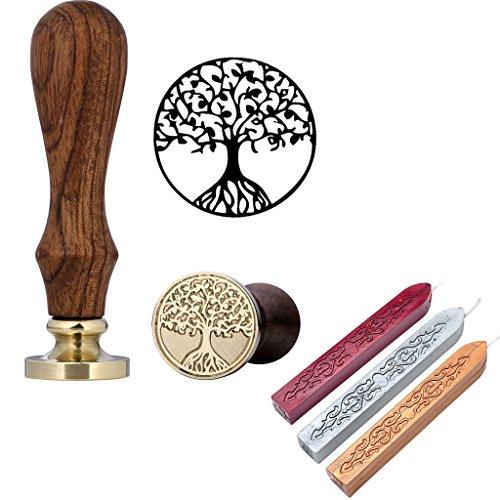 Mogoko Rosenholz achs Siegelstempel Stempel mit Gravur Baum des Lebens ,incl. 3 Stangen Mix Farben Siegelwachs