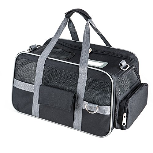 Fypo-Fabric-Pet-Cat-Carrier-Crate-Puppy-Lightweight-Portable-Travel-Bag-Suitable-for-Airline-Cabin-with-Fleece-Car-Seat-Foldable-Expandable-Handbag-Shoulder-Case-452923-cm