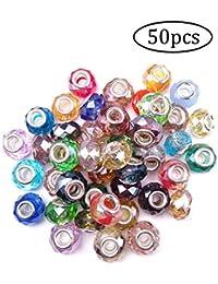 ZYCX123 50pcs-color mixto europeo del estilo del vidrio Perlas Perlas gran agujero tallado redondo