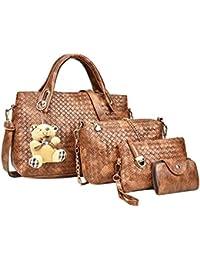 Fashion Women 4pcs Bag Set Weaven PU Soft Handbag Should Bag Tote Clutch Fashion Composite Bag Pu Leather Cross... - B07GRRKJFK