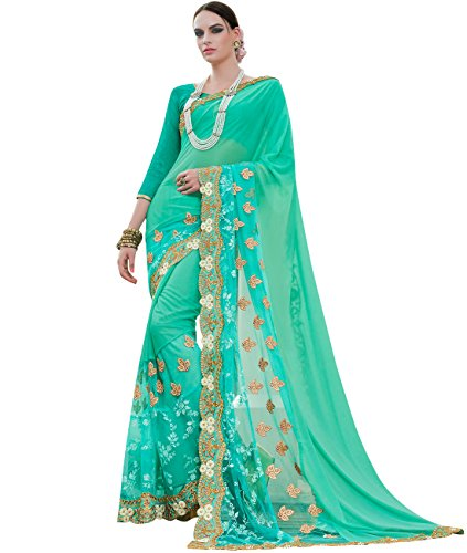 indian-ethnic-faux-georgette-and-net-aqua-designer-saree