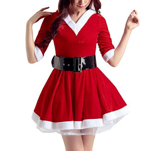 Feicuan Damen Weihnachten Fasching Uniform Mini Kleider Partykleid Santa Claus kostüm with Gürtel