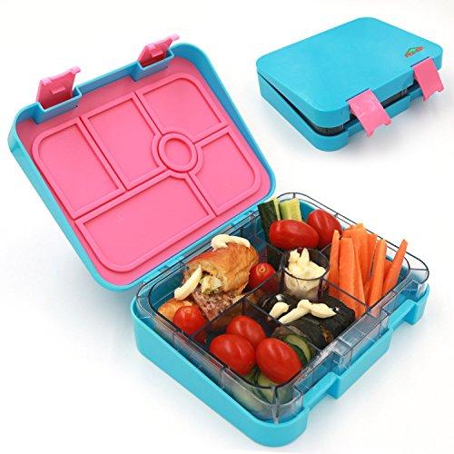 aohea Lunch Box 6 Fächer Bento Box mit Sicher Tritan Materialien Kinder auslaufsicher auch für Erwachsene geeignet blau (Bento-sauce)