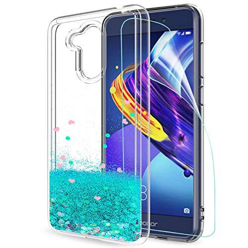 LeYi Hülle Huawei Honor 6C Pro/Honor V9 Play Glitzer Handyhülle mit HD Folie Schutzfolie,Cover TPU Bumper Silikon Treibsand Clear Schutzhülle für Case Huawei Honor 6C Pro Handy Hüllen ZX Turquoise