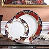 YYHWCFW Servizio Cena Piatti Servizio di Posate in Porcellana Bone China in Ceramica Piatto da Dessert in Porcellana Set di 4 Tazze