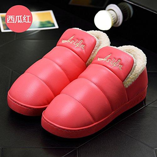 pacchetto spessa uomini scarpe di soggiorno pantofole morbido donne pantofole rosso4 pelle e in di Inverno e Il cotone impermeabile interni con DogHaccd cotone paio un per antiscivolo di qgw0Uxw