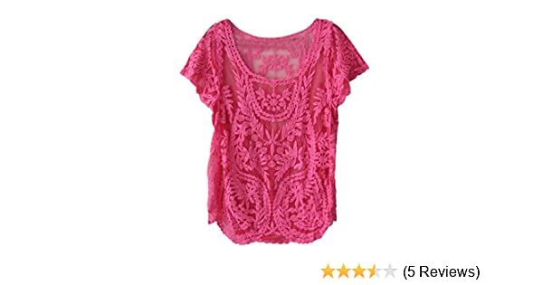 Amonfineshop Blumen Semi Sheer Hemd-T-Shirt Spitze-Häkelarbeit-Spitzenbluse  (hot pink)  Amazon.de  Bekleidung 33e0da1001
