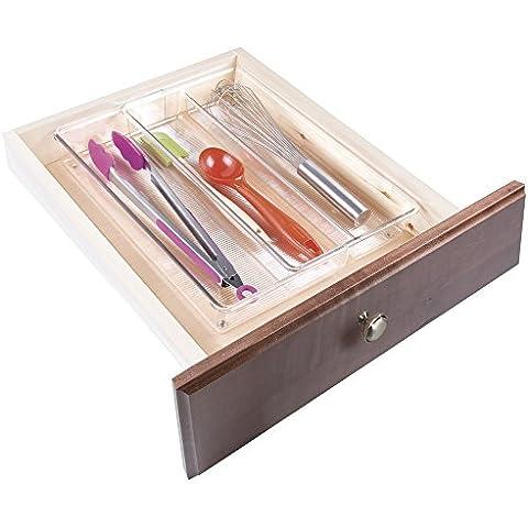 mDesign - Organizador expandible de cajón de cocina; organiza cubiertos, espátulas, adminículos - 20 x 38 x 6 cm -