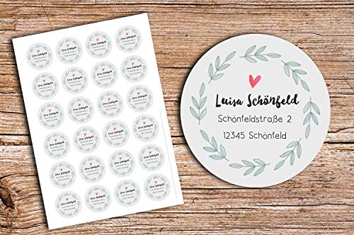 48 x Personalisierte Adress Aufkleber GRAU Ranke Wunschdruck Aufkleber matt 4cm Etiketten Geschenkaufkleber