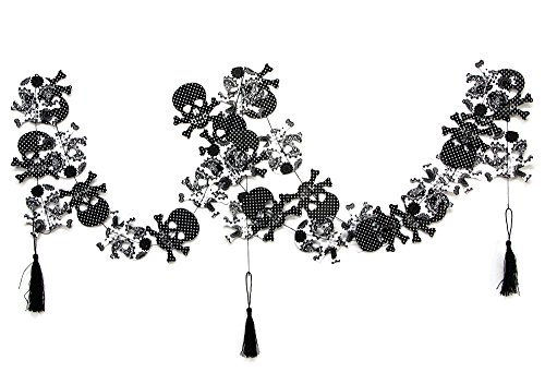 SUNBEAUTY 3er Set Schädel Girlanden Schwarz & Weiß Tag der Toten Halloween Dekoration mit Troddel
