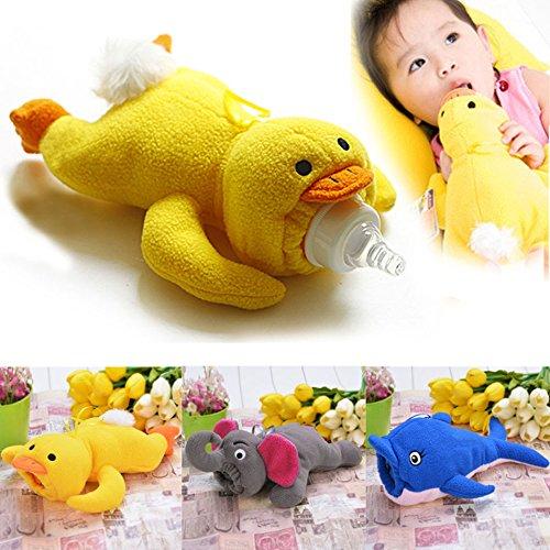 Befied Babyflasche Tasche Isolierung Tier Plüsch für Baby Flaschen Thermos Baby Flaschenhalter Wasserflaschen (Gelb)