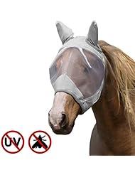 Harrison Howard CareMaster Masque de protection anti mouche Anti UV avec Oreilles Argent (Pur-Sang (M))