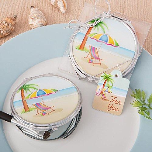 Beach Design Silber Metall Kompakt Spiegel mit Epoxy Top von Fashioncraft multi - Metall-kompakt-spiegel