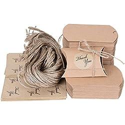X-Mile 100x Bolsas de regalo cajas para regalo de carton Bolsas con 100 Pack Pegatinas de regalo adhesivas 100 Pack 63cm Cuerda de yute para Chocolates Dulces Nueces Hojas de té Galletas