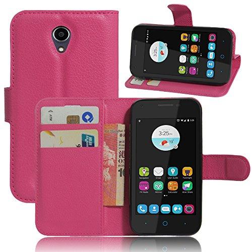 ZTE blade L110 Hülle, KuGi ® ZTE blade L110 Häuser- Hochwertige Ständer PU-Leder-Mappen-Kasten für ZTE blade L110 4G LTE Smartphone.(Rosa)