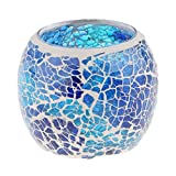 non-brand MagiDeal Mosaikglas Teelichthalter Teelicht Windlicht Kerzenhalter Mosaikglas Kugel bunt Ornament - Blau 2
