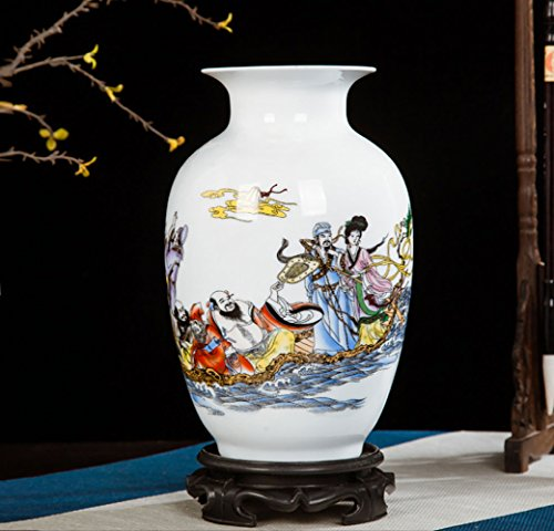 en Keramik Vase Chinesische Antike Vase Alte Weibliche Muster Vase/Weiß / Charakter,B+14 * 22cm ()