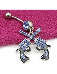 VANKER Joyería de los anillos del vientre de acero inoxidable con Encanto 2pcs Navel cuelga la perforación del cuerpo--Azul