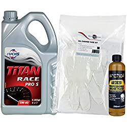 Fuchs Titan Race Pro S 5W40 Fully Synthetic Engine Oil - 5 Litres & AR2820 Pro Engine Flush & Oil Change Care Kit