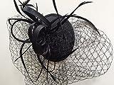 5535schwarz Hatinator Fascinator schwarz Net & Federn auf Elastic & Kamm Hochzeit Races