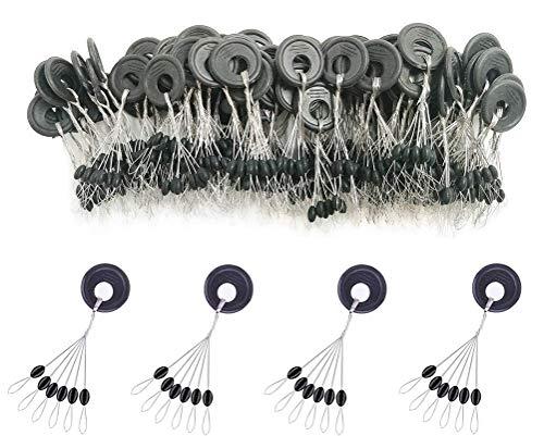 600 Stück Stopper aus Gummi, 6-in-1, dient als Schwimmer, Stopper und Gewicht, in 3 verschiedenen Größen erhältlich, in den Farben schwarz und orange, ovale sowie zylinderförmig (Black-Oval, S)