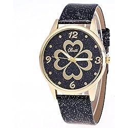 HARRYSTORE Womens Leather Quartz Dress Heart-shaped Wrist Watch