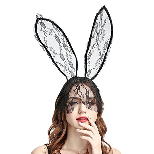 Jolisson Hase Haarreif Spitzen Lang Ohren Lace Maske Bunny Kostüm Vintage Maskenball Party Schleier Fasching Karneval Haarband ()