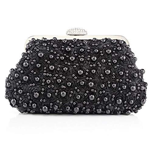 Wanforjewellery Damen Perle Floral Clutch Abendtasche, Vintage Perlen Clutch Hochzeit Handtasche Kette,Black -