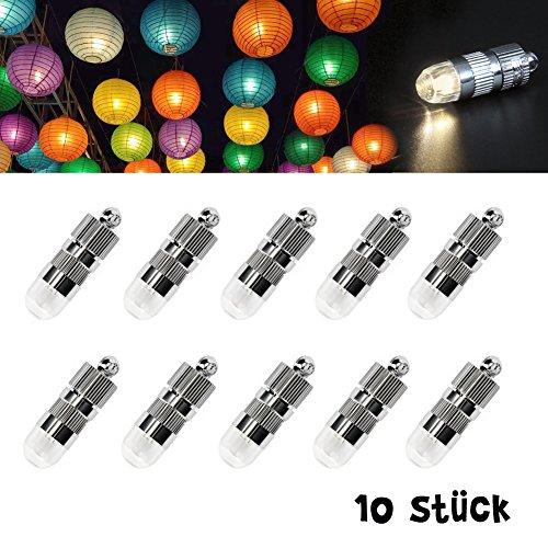 Dazone 10x Mini LED-Ballons Lichter mit Batterien Wasserdicht Luftballons Beleuchtung Blumendekor für Lampions Papierlaternen Hochzeit Party LED Licht Dekoration - Warmweiß [Energieklasse A+]
