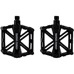 Pedales para bici bmx Bicicleta de montaña MTB ciclismo de carreras ultraligero pedal de aleación (Negro)