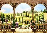 Fototapete Garten Säulen Wiese Hügel Mediteran Blume Brunnen Terrasse Balkon XL 350 x 245 cm - 7 Teile Vlies Tapete Wandtapete - Moderne Vliestapete - Wandbilder - Fotogeschenke - Wand Dekoration wandmotiv24
