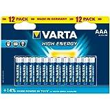 Varta High Energy Piles Alcalines AAA LR03 x 12