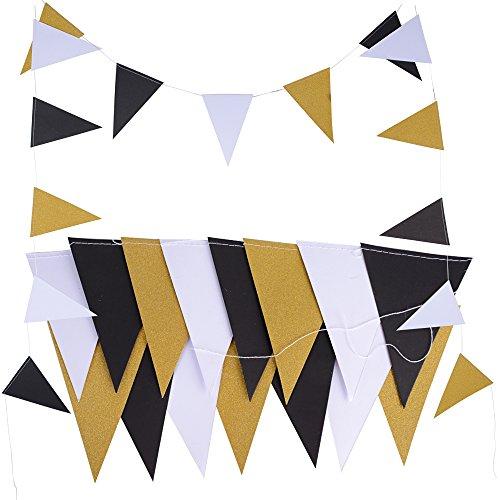 5 Meter Papier Wimpel Girlande Banner Papier Wimpelkette Wimpelgirlande Glitter Glitzer Deko für Hochzeit Geburtstag Party Kinderzimmer Räumer Fenster (Gold Schwarz Weiß) ()