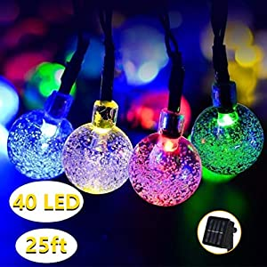 Lachesis Solar Lichterkette Außen Garten 7.5M 40 LED Kristall Kugeln 8 Modi Wasserdicht Solarbetriebene Lichterkette Außenlichterkette für Garten, Bäume, Weihnachten, Hochzeiten, Partys