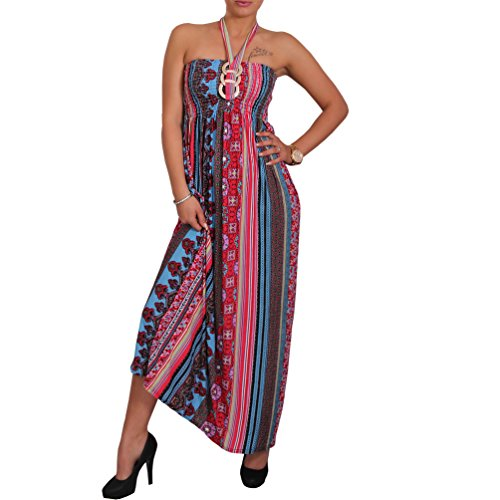 Sommer Bandeau Kleid Zier-Ring Brosche Damen Strandkleid Tuchkleid Tuch Aztec Aztec Pink Blau