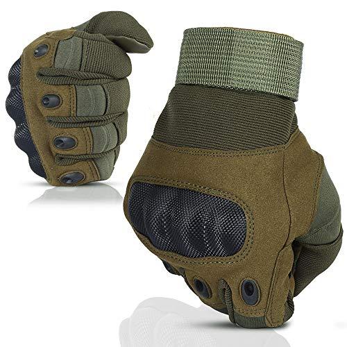 Nasharia Gants Tactiques Renforcés Ecran Tactile Respirable pour Vélo, Motocross, Combat, Camping,Randonné, Airsoft,Chasse,Scooter, Militaire,Paintball Ou d'autres activités de Plein air - Vert - L