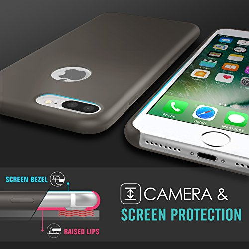 MoKo Hülle für iPhone 7 Plus - Premium Ultra Slim Flexible Silikon Handy Schutzhülle Schale Stoßfest Phone Case Cover Bumper für Apple iPhone 7 Plus 5.5 Zoll Smartphone, Rosa sand Kakao