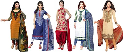 Market Magic World Women\'s Printed Unstitched Regular Wear Salwar Suit Dress Material (Combo pack of 5)(MMW_Combo_7135_3010_3013_3028_3023_3046)