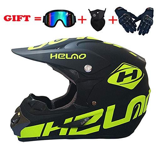 SanQing Motocross Helm Gut Aussehende Teen Erwachsen ATV Motorrad-Sturzhelm SUV Maske Brille Handschuhe, Mode Dirt Bike Off-Road Mountainbike Helm 4-Teiliges Set Unisex,32,M