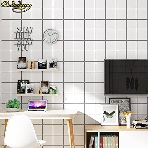 DUOCK Nordic Einfachheit Schwarz Weiß Gitter Quadrate Wall Panel Wandbild Non-Woven Tapete Papel de Parede 3D Wallpaper Rolle, 53 CM X 10 M -