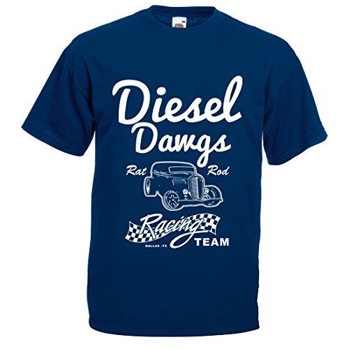 Herren Diesel DAWGS Rat Rod Racing Team T-Shirt Gr. Größe L, Navy