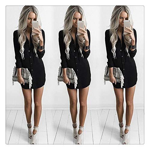 Shirt Dress Autumn Long Sleeve Oversized Dress Women Crew Neck Shirts Tops Blouse Summer Clothing Fashion Black XL Knee Length Down Coat