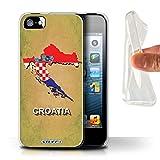 Stuff4 Coque Gel TPU de Coque pour Apple iPhone 5/5S / Croatie/Croate Design/Drapeau Pays Collection