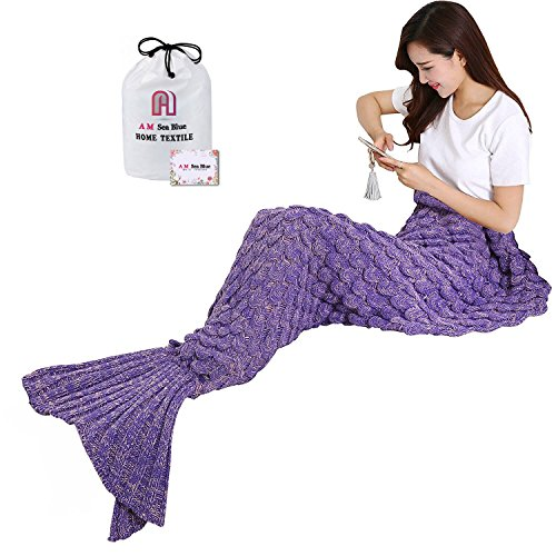 Seablue Handmade Knitted Mermaid Tail Blanket, Warm Sofa Quilt Living room blanket for Adults and Kids 190cmX90cm(74.8 inch x35.4 inch ) (purple)