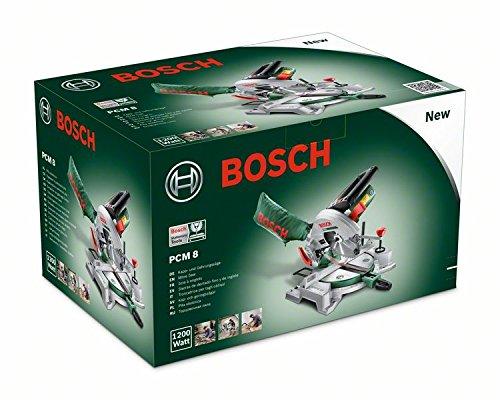 Bosch Kappsäge und Gehrungssäge PCM 8 (Arbeitsklemme, Kreissägeblatt Optiline Wood, Staubbeutel, Karton, 1.200 Watt) - 6