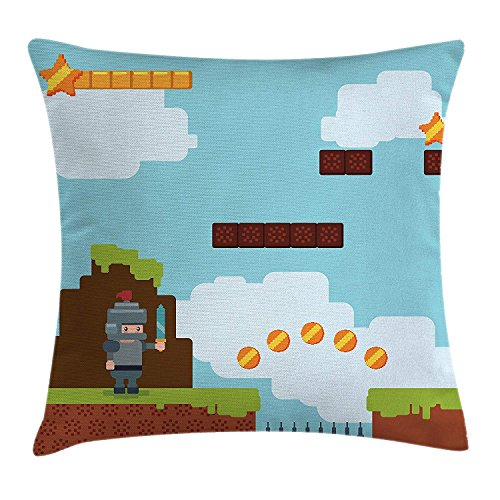 row Pillow Cushion Cover, Arcade World Kids 90's Fun Theme Knight with Fireball Bonus Stars Coins Image, Decorative Square Accent Pillow Case, 18 X 18 Inches, Multicolor ()