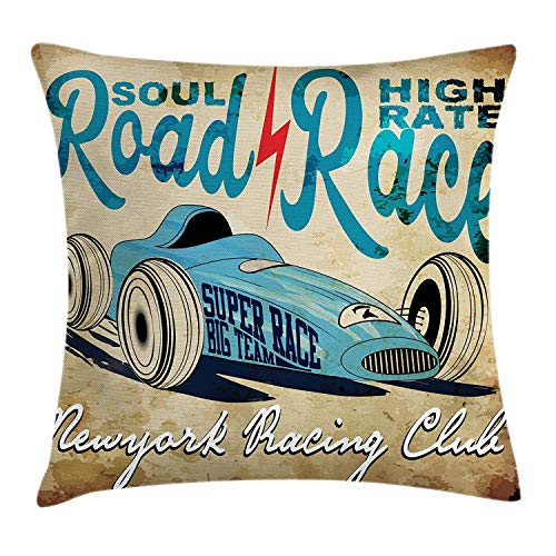 Cars Throw Pillow Cushion Cover, New York Racing Club Race Car from Twenties Road Race Team Old School Cool Design, Decorative Square Accent Pillow Case, 18 X 18 Inches, Aqua Sand Brown (Halloween New Party York Club)